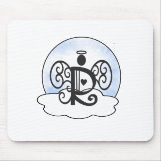 手紙Rのアルファベットのイニシャルのモノグラムwの天使は曇ります マウスパッド