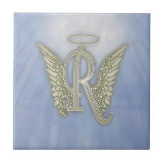 手紙Rの天使のモノグラム タイル