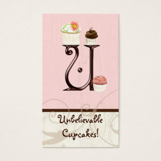 手紙Uのモノグラムのデザートのベーカリーの名刺 名刺