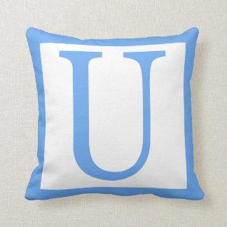 手紙Uの空色のボーダー クッション