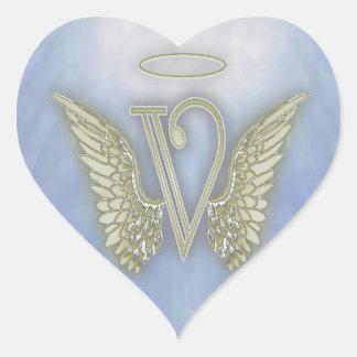 手紙Vの天使のモノグラム ハートシール