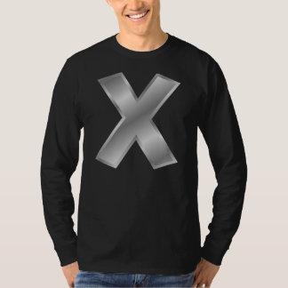 手紙Xのモノグラムの人の基本的な長袖のTシャツ Tシャツ