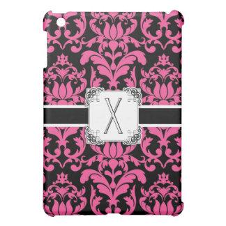 手紙Xのモノグラムの花のダマスク織のタイポグラフィスクロール iPad MINIケース