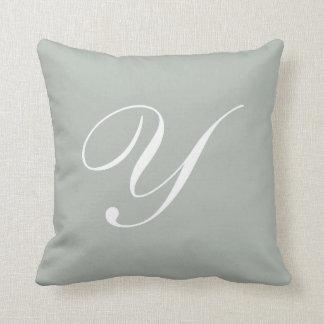 手紙Yの銀製灰色のモノグラムの枕 クッション