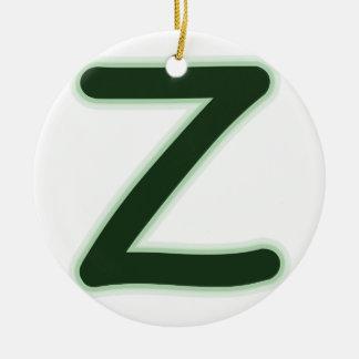 手紙Zの深緑色の白熱 セラミックオーナメント