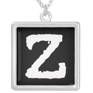 手紙Z シルバープレートネックレス