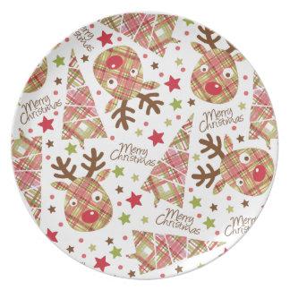 手織りのパッチワークのメリークリスマス プレート