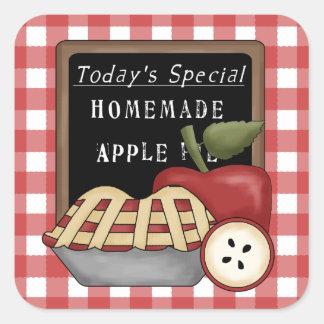 手製のアップルパイのおもしろいのステッカー スクエアシール