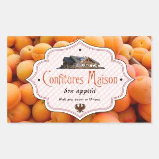 手製の込み合いのフランス人のラベルの杏子 長方形シール