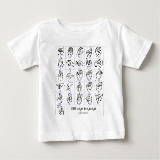 手話のアルファベットの赤ん坊のワイシャツ ベビーTシャツ