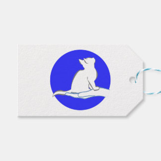 手、青い円の猫 ギフトタグ