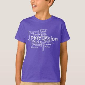 打楽器の単語の雲の白の文字 Tシャツ
