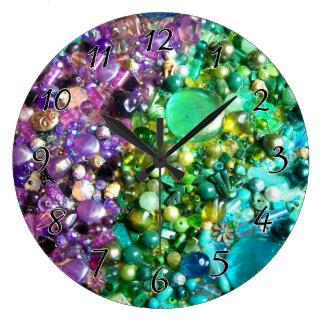 技術のビーズの虹 ラージ壁時計