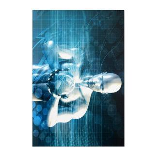 技術の企業の地球を握っている人 アクリルウォールアート
