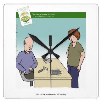 技術の通告の漫画の時計 スクエア壁時計