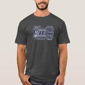技術ビール醸造業者-青及び白は擦り切れたな一見できます Tシャツ