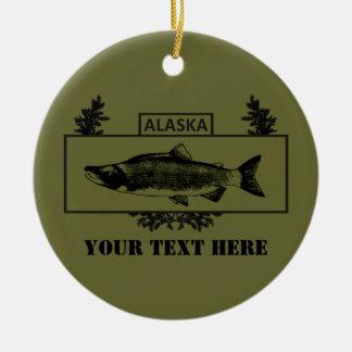 抑制されたアラスカの戦闘の漁師のバッジ セラミックオーナメント