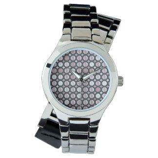 抑制されたピンクの円 腕時計