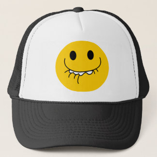 抑制された笑う黄色いスマイリーフェイス キャップ