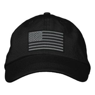 抑制された米国の旗によって刺繍される帽子(黒) 刺繍入りキャップ
