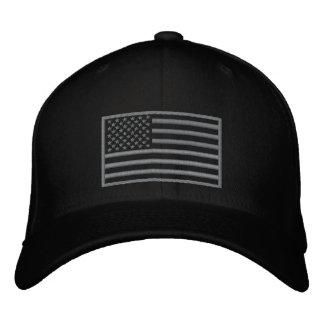 抑制された色米国の旗によって刺繍される帽子(黒) 刺繍入りキャップ