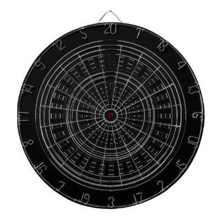 投げ矢のチャクラ-黒いnの銀製の車輪の荒い堅い ダーツボード