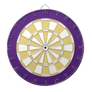 投げ矢板: 白く、古い金ゴールドおよび紫色 ダーツボード
