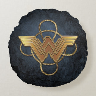 投げ縄上のワンダーウーマンの金ゴールドの記号 ラウンドクッション