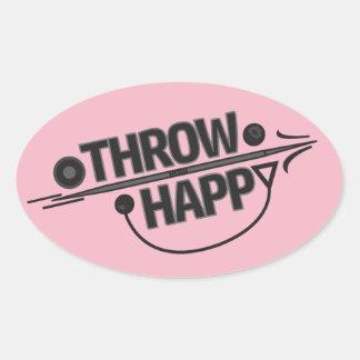 投球の幸せな砲丸投げ円盤投げのステッカー! 楕円形シール