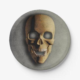 投石された3Dハロウィンのスカルの紙皿 ペーパープレート