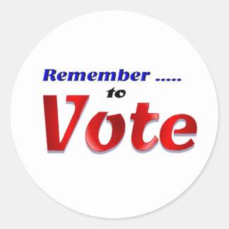 投票することを覚えて下さい ラウンドシール