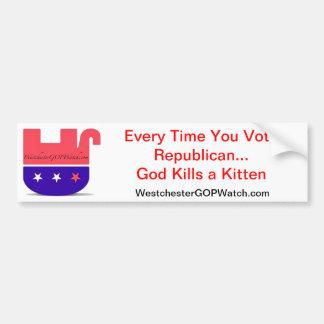 投票する度に共和党の神は子ネコを殺します バンパーステッカー