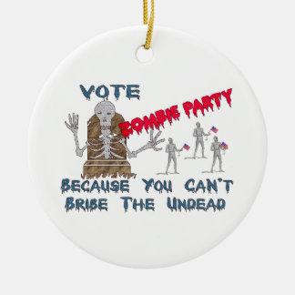 投票ゾンビのパーティー セラミックオーナメント