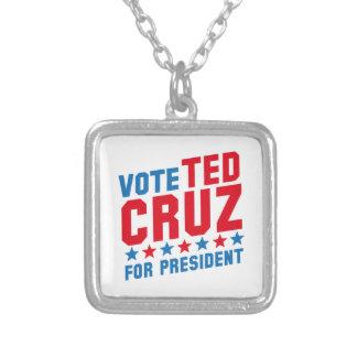 投票テッドCruz シルバープレートネックレス