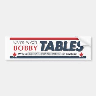 投票ボビーはバンパーステッカーを台に置きます バンパーステッカー