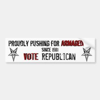 投票共和党員: ハルマゲドンのパーティー バンパーステッカー