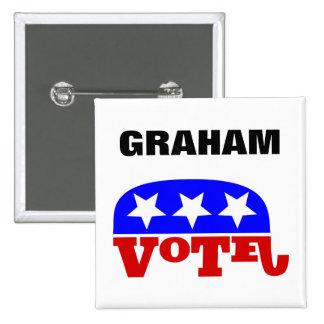 投票Lindseyグラハムの共和党員象 5.1cm 正方形バッジ