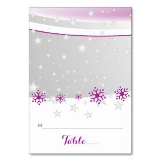 折られた座席表を結婚する紫色、灰色の雪片 カード