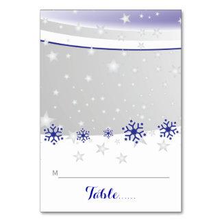 折られた座席表を結婚する青、灰色の雪片 カード