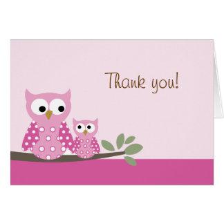 折られるやじり声フクロウのピンクはメッセージカード感謝していしています カード