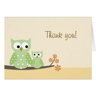折られるやじり声フクロウはメッセージカード感謝していしています カード