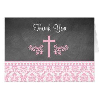 折られるピンクの女の子の洗礼はメッセージカード感謝していしています カード