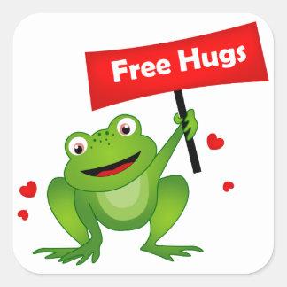 抱擁かわいいカエルを放して下さい スクエアシール
