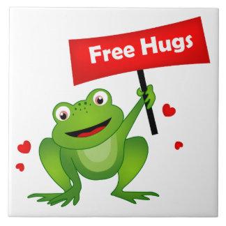 抱擁かわいいカエルを放して下さい タイル