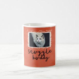 抱擁の相棒カスタムなオレンジ猫の写真のマグ コーヒーマグカップ