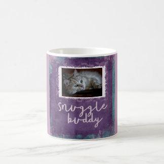 抱擁の相棒カスタムな紫色猫の写真のマグ コーヒーマグカップ