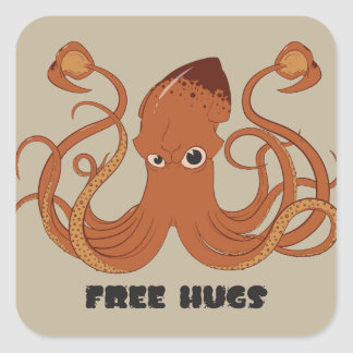 抱擁イカのステッカーを解放して下さい スクエアシール