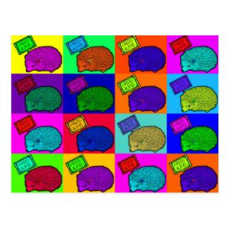 抱擁ハリネズミのカラフルなポップアートPopartを解放して下さい ポストカード