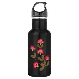 押された明るいピンクの管の花 ウォーターボトル