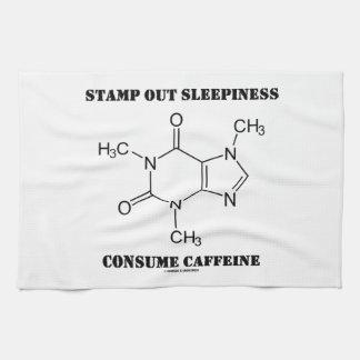 押して下さいSleepinessを消費しますカフェイン(化学)を キッチンタオル